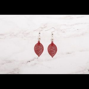 Jewelry - Red Leaf Filligree Teardrop Earrings